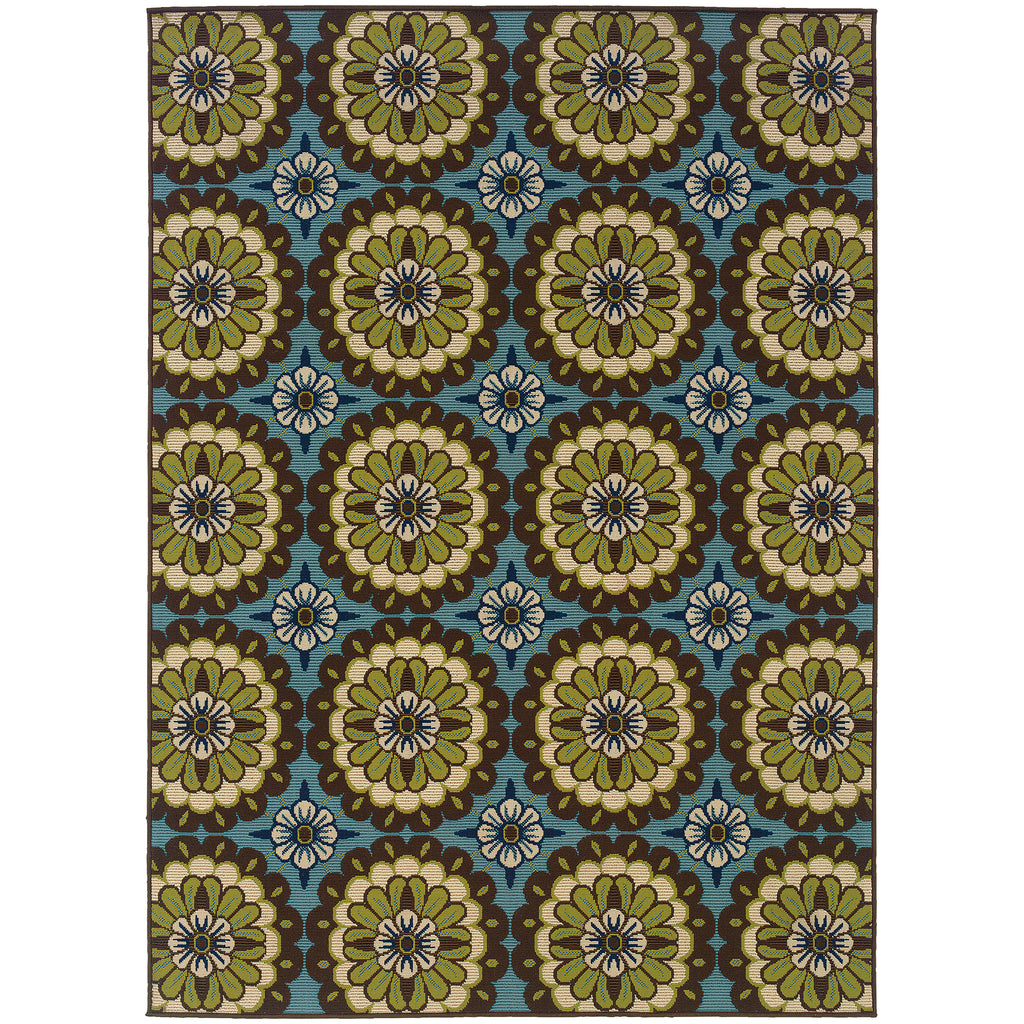 8328L Caspian Indoor/Outdoor Rug Blue/Brown - ReeceFurniture.com