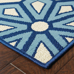 969W6 Caspian Indoor/Outdoor Rug Ivory/Blue - ReeceFurniture.com