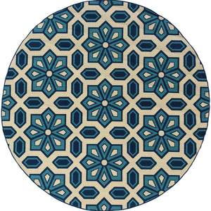 969W6 Caspian Indoor/Outdoor Rug Ivory/Blue