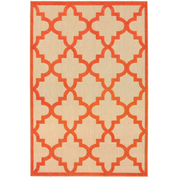 660O9 Cayman Indoor/Outdoor Rug Sand/ Orange