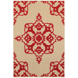 097R9 Cayman Indoor/Outdoor Rug Sand/ Red