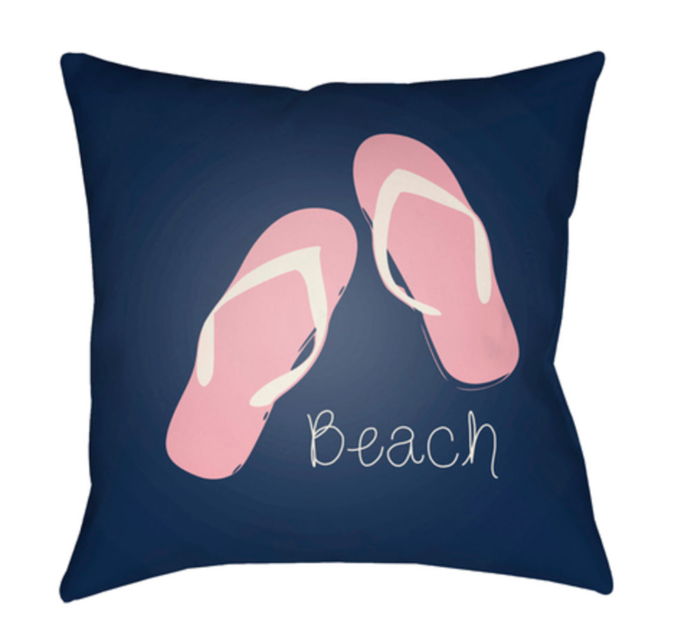 Carolina Coastal Pillow Cover - Bright Pink, Dark Blue - CC006