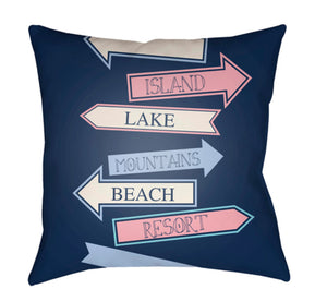 Carolina Coastal Pillow Cover - Aqua, Pale Blue, Bright Pink, Dark Blue, Sky Blue - CC007
