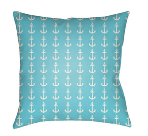 Carolina Coastal Pillow Cover - Bright Blue, White - CC009