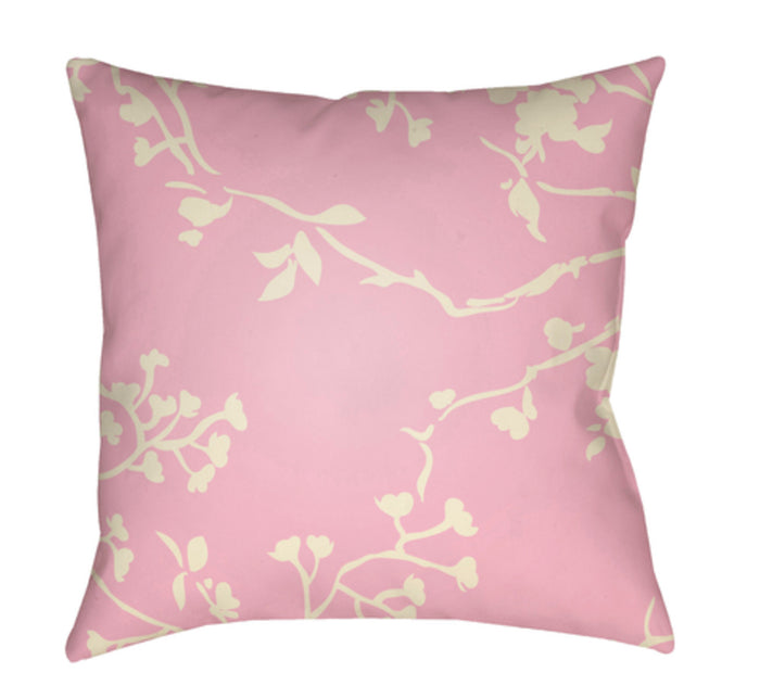 Chinoiserie Floral Pillow Cover - Cream, Pale Pink - CF009