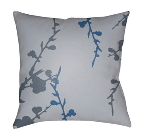 Chinoiserie Floral Pillow Cover - Light Gray, Denim, Bright Blue - CF011