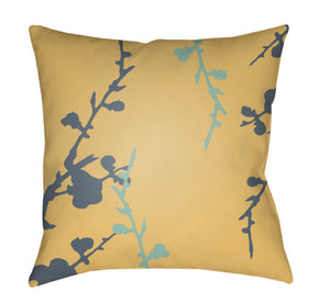 Chinoiserie Floral Pillow Cover - Denim, Mint, Saffron - CF014