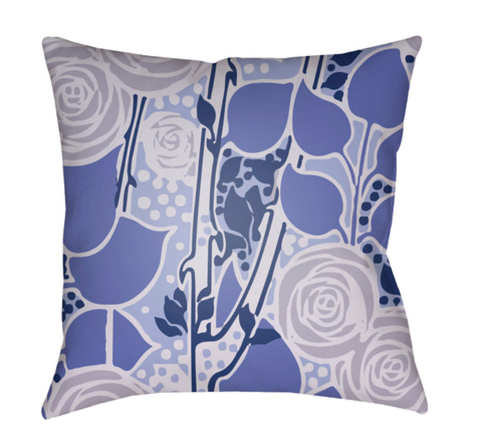 Chinoiserie Floral Pillow Cover - Bright Blue, Lavender, Violet, Dark Blue - CF020