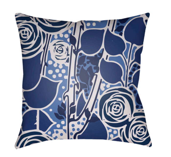 Chinoiserie Floral Pillow Cover - Navy, Bright Blue, Dark Blue, Light Gray - CF023