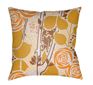 Chinoiserie Floral Pillow Cover - Cream, Peach, Bright Orange, Camel, Mustard - CF024