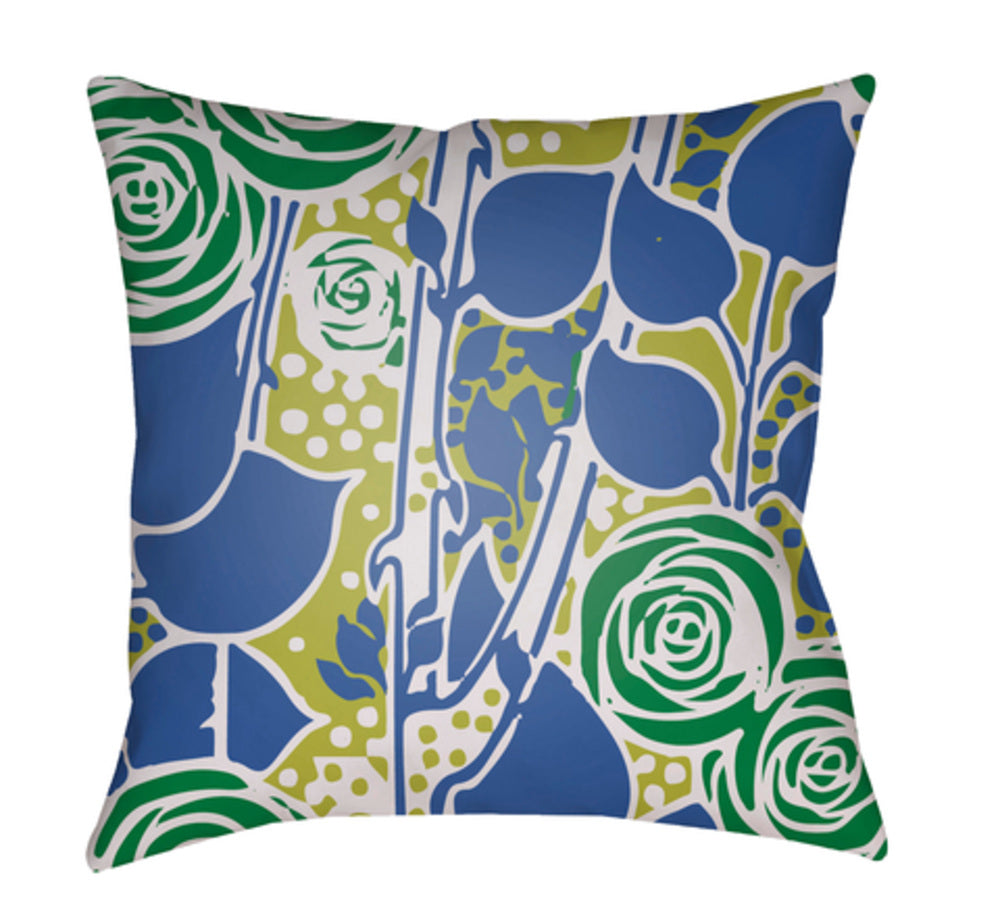 Chinoiserie Floral Pillow Cover - Grass Green, Bright Yellow, White, Bright Blue - CF026