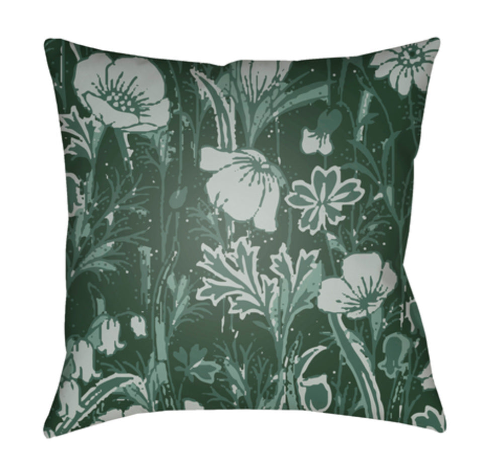 Chinoiserie Floral Pillow Cover - Dark Green, Ice Blue, Sage - CF033
