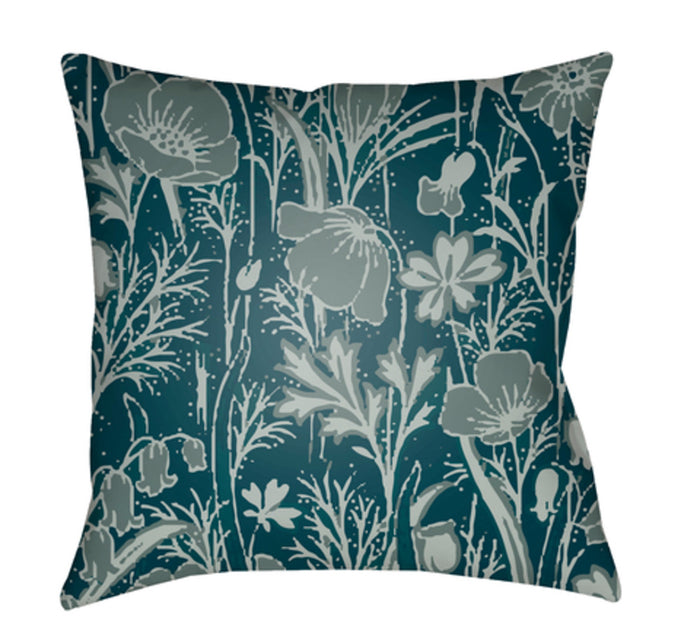 Chinoiserie Floral Pillow Cover - Dark Green, Ice Blue, Teal - CF036