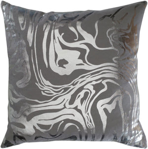 Crescent Pillow Cover - Medium Gray, Metallic - Silver - CSC009 - ReeceFurniture.com