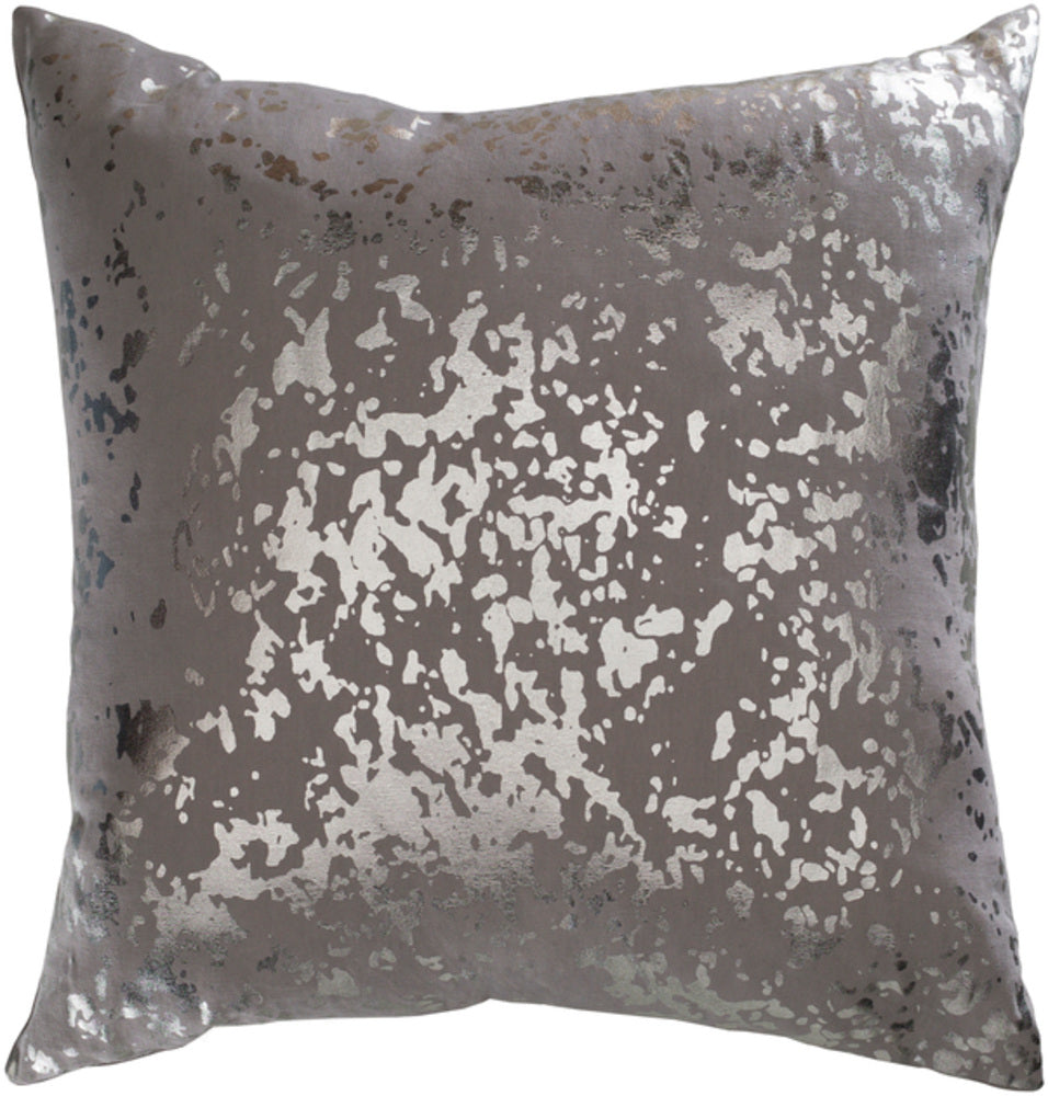 Crescent Pillow Cover - Medium Gray, Metallic - Silver - CSC011