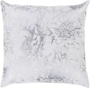Crescent Pillow Cover - White, Metallic - Silver - CSC013