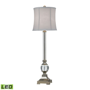 D2309-LED Corvallis LED Buffet Lamp In Polished Nickel And Clear Finish, Table Lamp, Dimond Lighting, - ReeceFurniture.com - Free Local Pick Ups: Frankenmuth, MI, Indianapolis, IN, Chicago Ridge, IL, and Detroit, MI