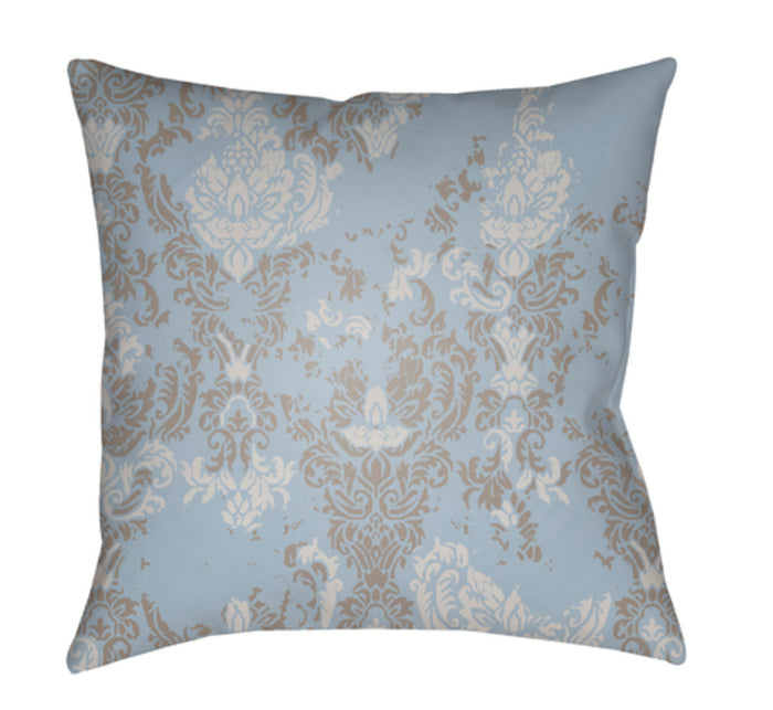 Moody Damask Pillow Cover - Aqua, Light Gray, Medium Gray - DK021