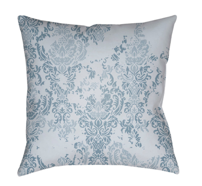 Moody Damask Pillow Cover - Aqua, Pale Blue - DK025