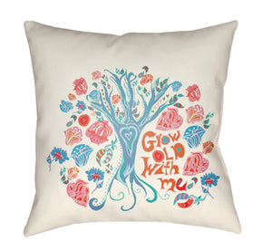 Doodle Pillow Cover - Bright Pink, Cream, Pale Blue, Coral, Bright Orange - DO010