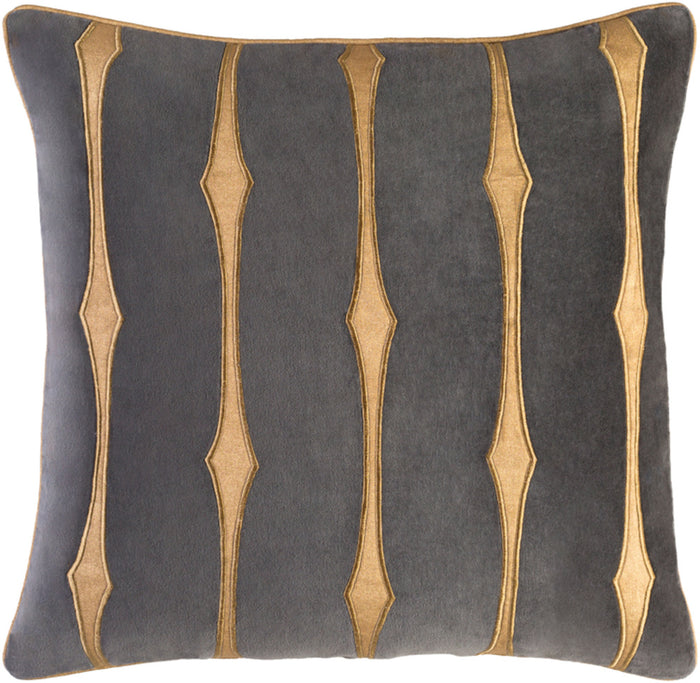 Graphic Stripe Pillow Cover - Charcoal, Tan, Wheat - GS004