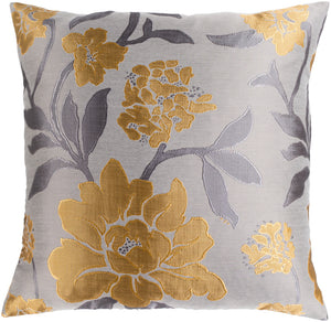 Blossom Pillow Cover - Saffron, Light Gray, Medium Gray - HH130