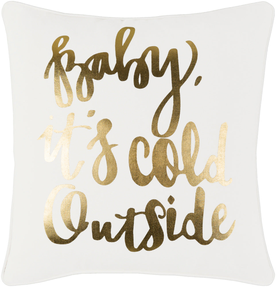 Holiday Pillow Cover - White, Metallic - Gold - HOLI7251 - ReeceFurniture.com