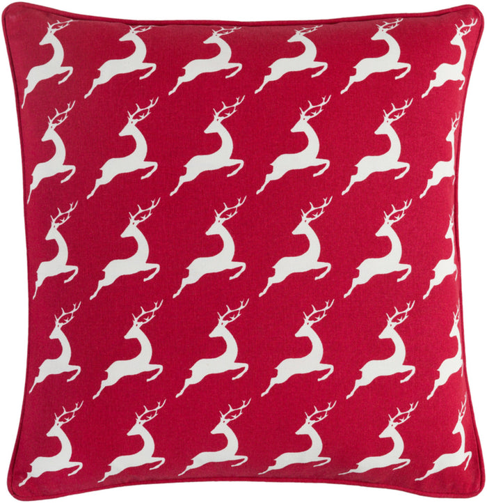 Holiday Pillow Cover - Bright Red, White - HOLI7273