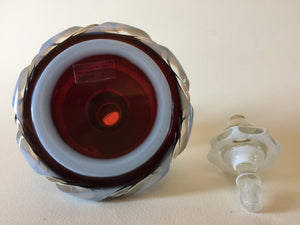 910003 Bohemian Opal Over Ruby Perfume or Ink Well With 5 Long Cuts Around & Rope Cuts, Bohemian Glassware, Antique, - ReeceFurniture.com - Free Local Pick Ups: Frankenmuth, MI, Indianapolis, IN, Chicago Ridge, IL, and Detroit, MI