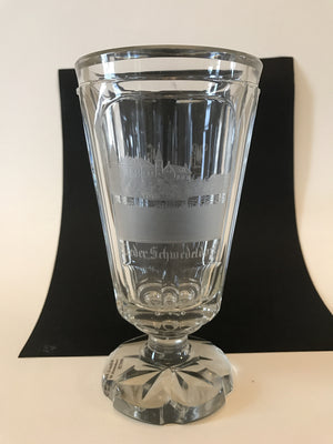 999728 Crystal Glass with Engraved Buildings on front NiederSchwedeldorf, 6 panels, Star cut on bottom, Bohemian Glassware, Unknown German Glass Company, - ReeceFurniture.com - Free Local Pick Ups: Frankenmuth, MI, Indianapolis, IN, Chicago Ridge, IL, and Detroit, MI