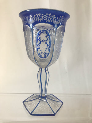 999329 Blue Cased Crystal Goblet W/Cut Flat Sides W/Heavy Floral Engravings