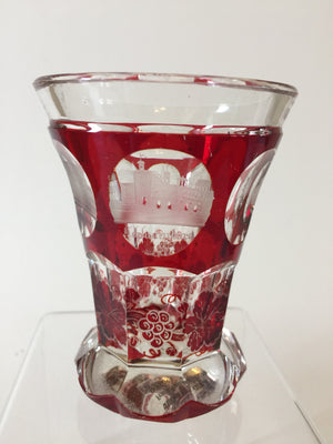 999053 Short Ruby Flashed With 6 Cut Circles 5 With Engraved Scenes 1 With P Initial, Bohemian Glassware, Antique, - ReeceFurniture.com - Free Local Pick Ups: Frankenmuth, MI, Indianapolis, IN, Chicago Ridge, IL, and Detroit, MI