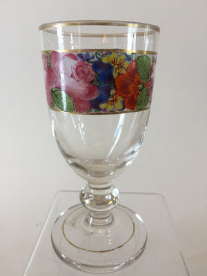 920020 Bohemian Glass Friendship Cup On A Stem with Hand Painted Flowers Around The Top, Bohemian Glasses, Antique, - ReeceFurniture.com - Free Local Pick Ups: Frankenmuth, MI, Indianapolis, IN, Chicago Ridge, IL, and Detroit, MI
