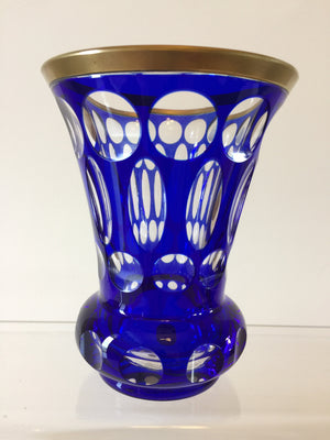 786028 Blue Cased With 12 Round Oval, Round & Round Cuts On Base, Bohemian Glassware, Bohemian Glass Collector, - ReeceFurniture.com - Free Local Pick Ups: Frankenmuth, MI, Indianapolis, IN, Chicago Ridge, IL, and Detroit, MI
