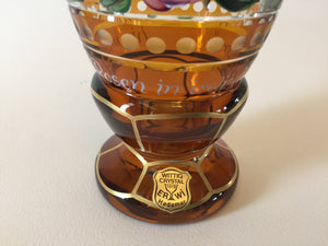 844016 Amber with Hand Painted Flowers & Gold Decoration, Bohemian Glassware, Ernest Wittig, - ReeceFurniture.com - Free Local Pick Ups: Frankenmuth, MI, Indianapolis, IN, Chicago Ridge, IL, and Detroit, MI