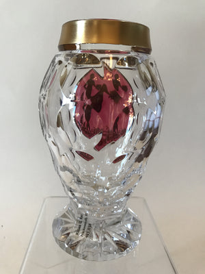 455038 Crystal With Cranberry Flashed Glass Oval Panel Of Painted Boy With Bouquet 4 Rows Of Round Cuts, Cuts On Base & Bottom Gold Rim, Bohemian Glassware, Kosherak, - ReeceFurniture.com - Free Local Pick Ups: Frankenmuth, MI, Indianapolis, IN, Chicago Ridge, IL, and Detroit, MI