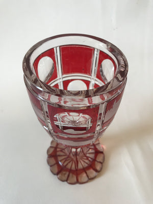 910241 Crystal With 2 Rows Of 5 Each Ruby Flash Panels, Half Cut Circle, Half Engraved Buildings, Cuts On Stem, Base & Bottom Outlined Ruby
