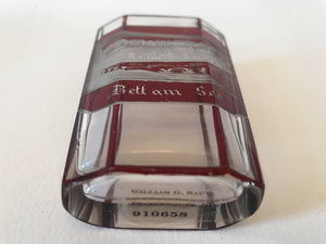 910658 Ruby Flashed Over Crystal Glass With 8 Long Flat Cut Sides On Oval Beaker, Rectangle Panel Of Engraved Building, Ruby Flashed Lines Between Sides, Bohemian Glassware, Antique, - ReeceFurniture.com - Free Local Pick Ups: Frankenmuth, MI, Indianapolis, IN, Chicago Ridge, IL, and Detroit, MI