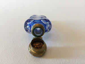 910399 Bohemian Glass Perfume Bottle with Brass Lid, Bohemian Glassware, Antique, - ReeceFurniture.com - Free Local Pick Ups: Frankenmuth, MI, Indianapolis, IN, Chicago Ridge, IL, and Detroit, MI