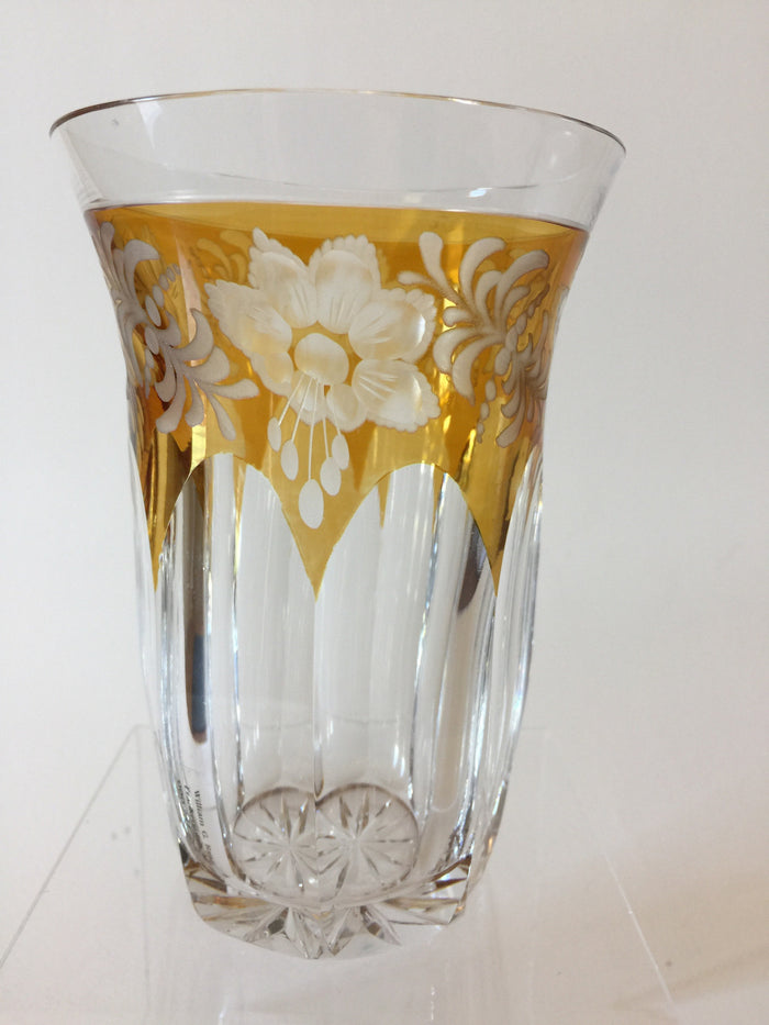 999281 Amber Glass Flashed Crystal W/Engraved Flowers & Draped Flat Long Cuts