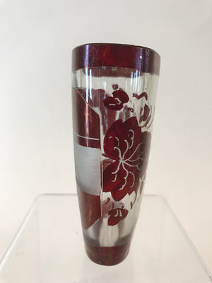 910217 Ruby Glass Flashed Oval With Engraved Building On Front, Ruby Flashed Band On Top & Base, Leaves On Back, Bohemian Glassware, Antique, - ReeceFurniture.com - Free Local Pick Ups: Frankenmuth, MI, Indianapolis, IN, Chicago Ridge, IL, and Detroit, MI
