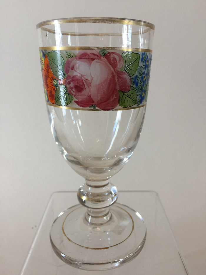 920020 Bohemian Glass Friendship Cup On A Stem with Hand Painted Flowers Around The Top