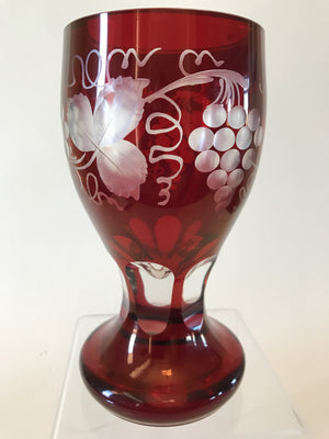 999173 Bohemian Ruby over Crystal Glass Friendship Cup-with 3 panels of engraved grapes & grape leaves, Bohemian Glassware, Antique, - ReeceFurniture.com - Free Local Pick Ups: Frankenmuth, MI, Indianapolis, IN, Chicago Ridge, IL, and Detroit, MI