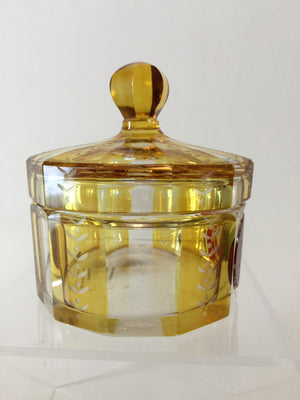 999907 Bohemian Amber over Crystal Glass box with cover & handle with Ruby panel on front, , Bohemian Glass, - ReeceFurniture.com - Free Local Pick Ups: Frankenmuth, MI, Indianapolis, IN, Chicago Ridge, IL, and Detroit, MI