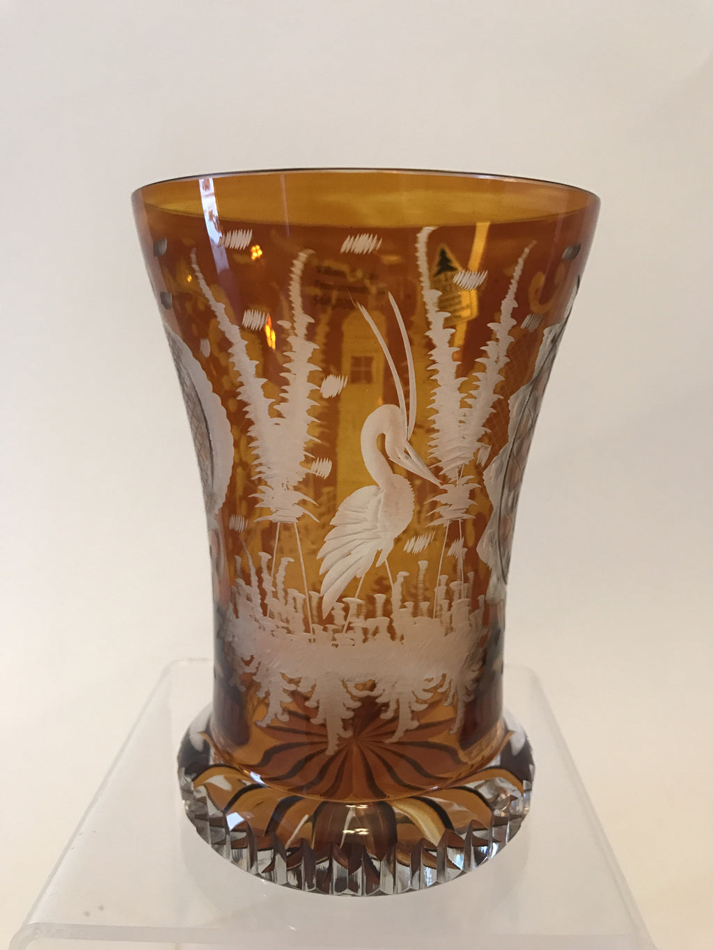 568020 Crystal Glass With Amber Flashed, Engraved Heron, Tall Building and two Decorated Designs, Bohemian Glassware, Antique, - ReeceFurniture.com - Free Local Pick Ups: Frankenmuth, MI, Indianapolis, IN, Chicago Ridge, IL, and Detroit, MI