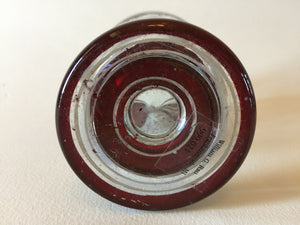 999021 Crystal With Dark Red Flashed Glass Round Plain Panel, Leaves & White Painted Lines, No Cutting or Engraving, Bohemian Glassware, Antique, - ReeceFurniture.com - Free Local Pick Ups: Frankenmuth, MI, Indianapolis, IN, Chicago Ridge, IL, and Detroit, MI