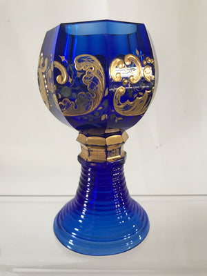 999349 Cobalt Blue Roemer Glass W/8 Cut Sides & Fancy Heavy Gold Painted Decor