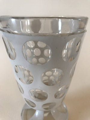 920017 White over Crystal Friendship Cup with 4 rows of 8 Round cuts & 2 Rows of 4 cuts on the base, Bohemian Glasses, Antique, - ReeceFurniture.com - Free Local Pick Ups: Frankenmuth, MI, Indianapolis, IN, Chicago Ridge, IL, and Detroit, MI