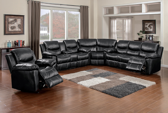 66008 Champion Black 3 Piece Sectional with POWER Sofa