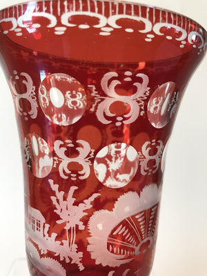 999718 Ruby Flashed over Crystal Glass with ornate engraving of fox and church, Bohemian Glassware, Unknown German Glass Company, - ReeceFurniture.com - Free Local Pick Ups: Frankenmuth, MI, Indianapolis, IN, Chicago Ridge, IL, and Detroit, MI